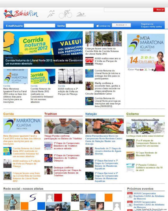 Site em WordPress do BahiaRun em 2010
