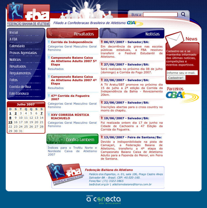 Site em WordPress da FBA