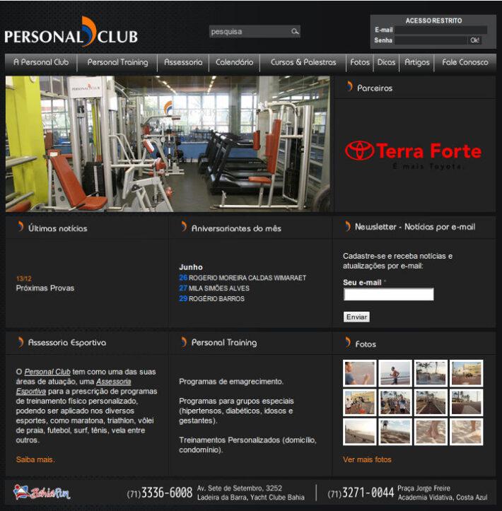 Site em WordPress da Personal Club